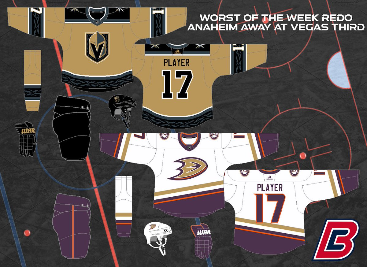 Here's the first entry into this season's Worst of the Week Redo Series, featuring #FlyTogether at #VegasBorn. I feel like one of the reasons Vegas's Thirds looked ify was the beige on the Ducks, so I averaged them for both teams. Plus having a good design helps. Enjoy!