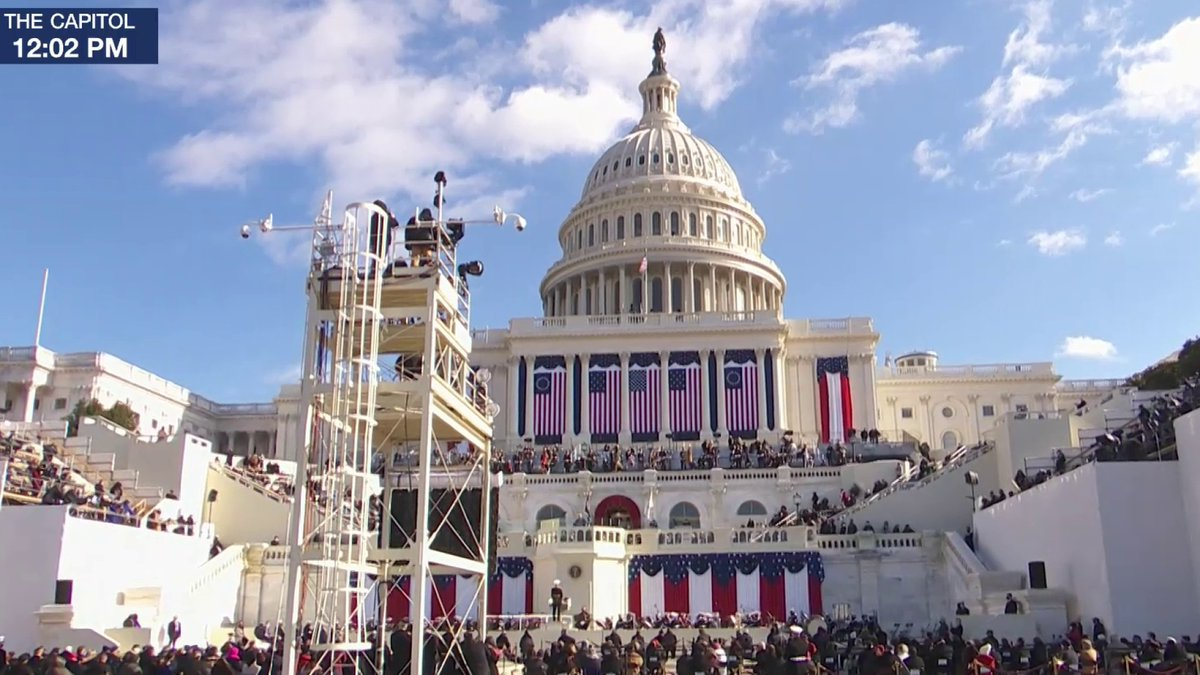 """WATCH: President Biden delivers his inaugural address: """"Just days after riotous mob thought they could use violence to silence the will of the people.""""  @JoeBiden: """"It did not happen. It will never happen. Not today. Not tomorrow. Not ever, not ever."""""""