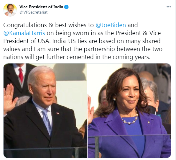 Congratulations & best wishes to @JoeBiden and @KamalaHarris on being sworn in as the President & Vice President of USA: @VPSecretariat tweets   Follow LIVE updates:   #InaugurationDay