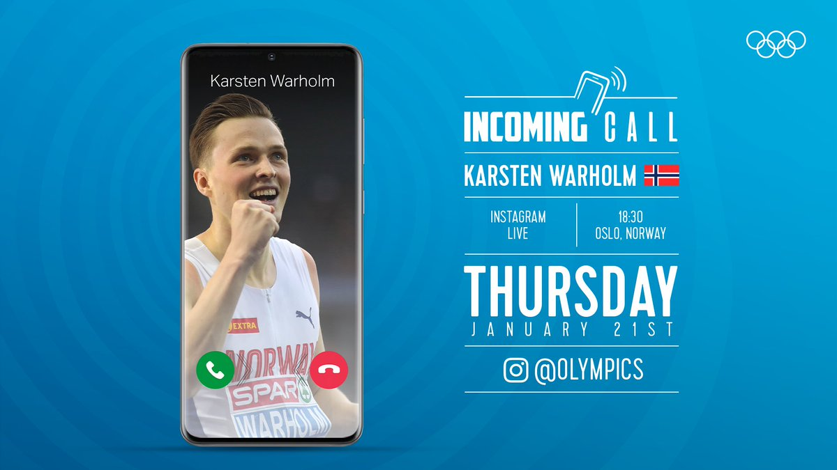 We'll be joined by Karsten Warholm on the Olympics Instagram account tomorrow!  The two-time world champion hurdler will be live from 18:30 CET – do you have any questions for him? 🇳🇴   #StrongerTogether @kwarholm @WorldAthletics @idrett