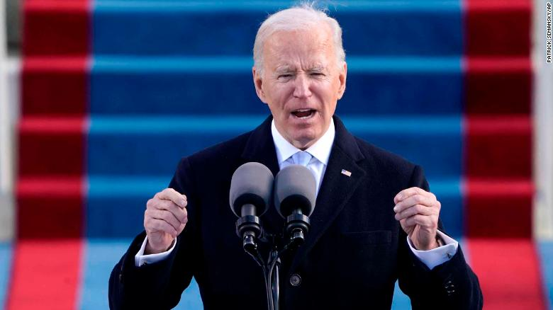 """President Biden calls for unity in his inaugural address, saying """"my whole soul is in this"""""""