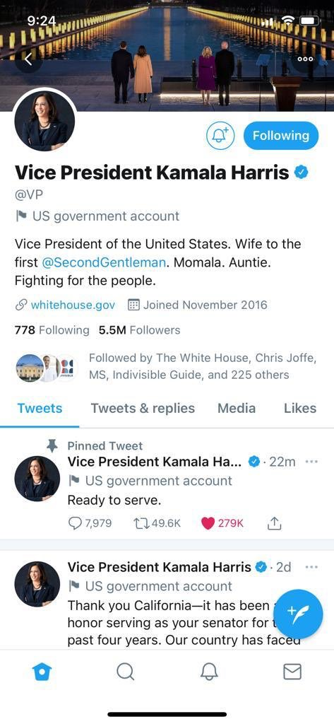 This new handle is everything. @VP. Madame @VP. #WeHaveHerBack