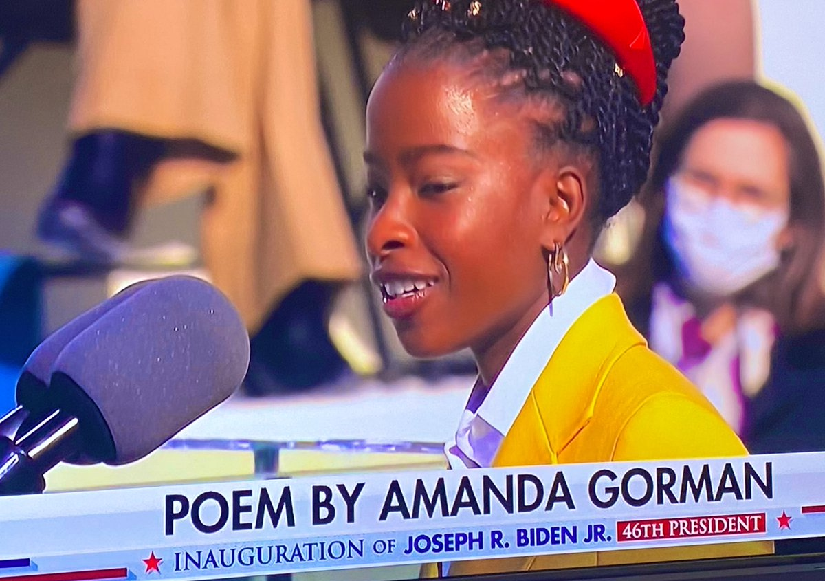What an accomplished and poised young lady. Very moved by the eleoquent @TheAmandaGorman. 🇺🇸 May her inspiring request for #Unity truly happen. #PoetLaureate