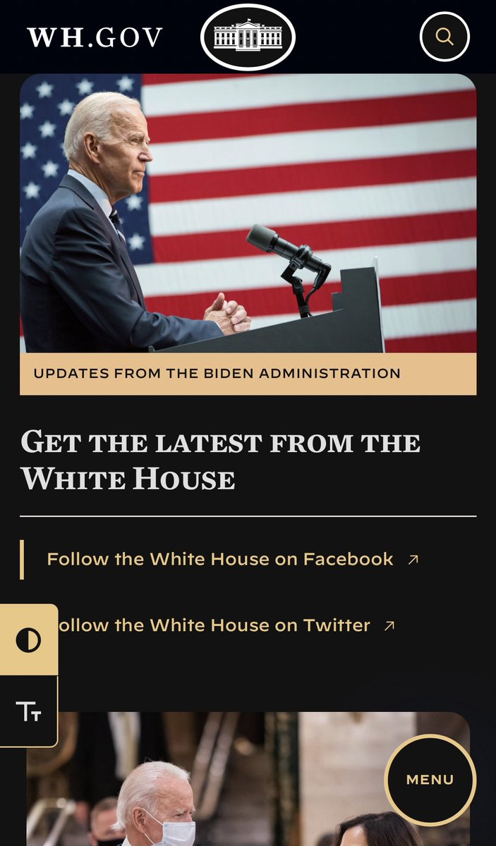The new Whitehouse website has a dark mode 👍
