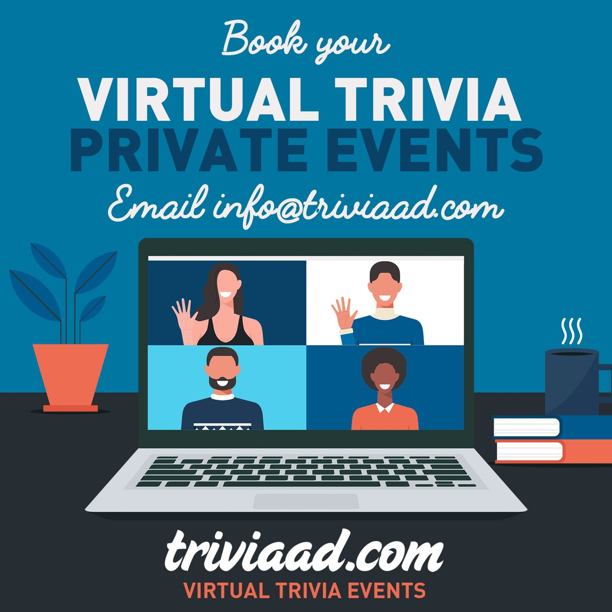 Get your team together with a private, virtual, team building  info@triviaad.com to plan your virtual corporate trivia event today! #Trivia #TeamBuilding #VirtualEvents #HappyHour