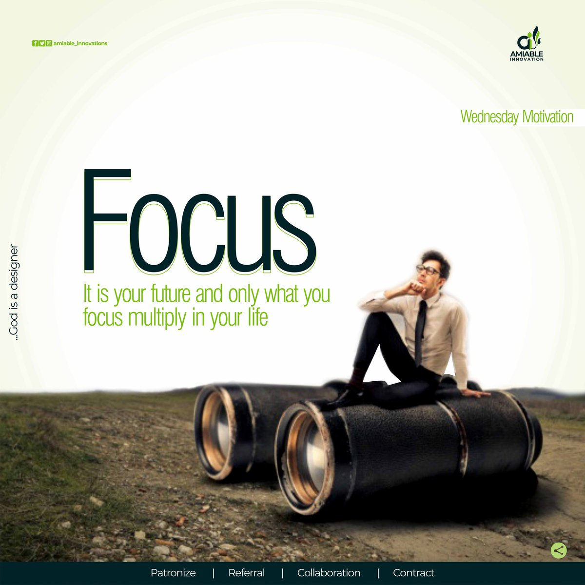"""Our focus is our future and what we focus on will multiply in our life."" — David DeNotaris #Amiable #Innovation  #Wednesdaymotivations #Focus #Elegance #Greatness #Multiply"