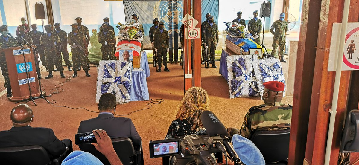 """""""To Burundian🇧🇮& Rwandan🇷🇼soldiers & personnel, we share your sadness. The loss of a single military life is a loss for all of us. All of them leave behind grieving families & children. Nothing can replace these losses."""" – DSRSG #UN #CAR while paying tribute to two blue helmets ."""
