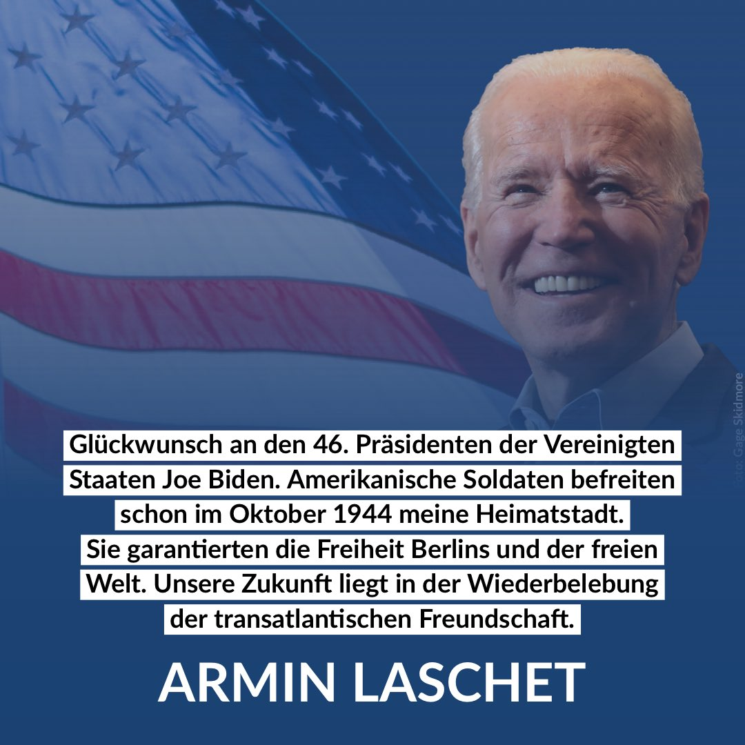 Congratulations to the 46th President of the United States 🇺🇸 @JoeBiden American soldiers liberated my home town in October 1944.They guaranteed the freedom of Berlin and of the free world. Our future rests upon the reinvigoration of the transatlantic friendship. #InaugurationDay https://t.co/hbyud3cDU3
