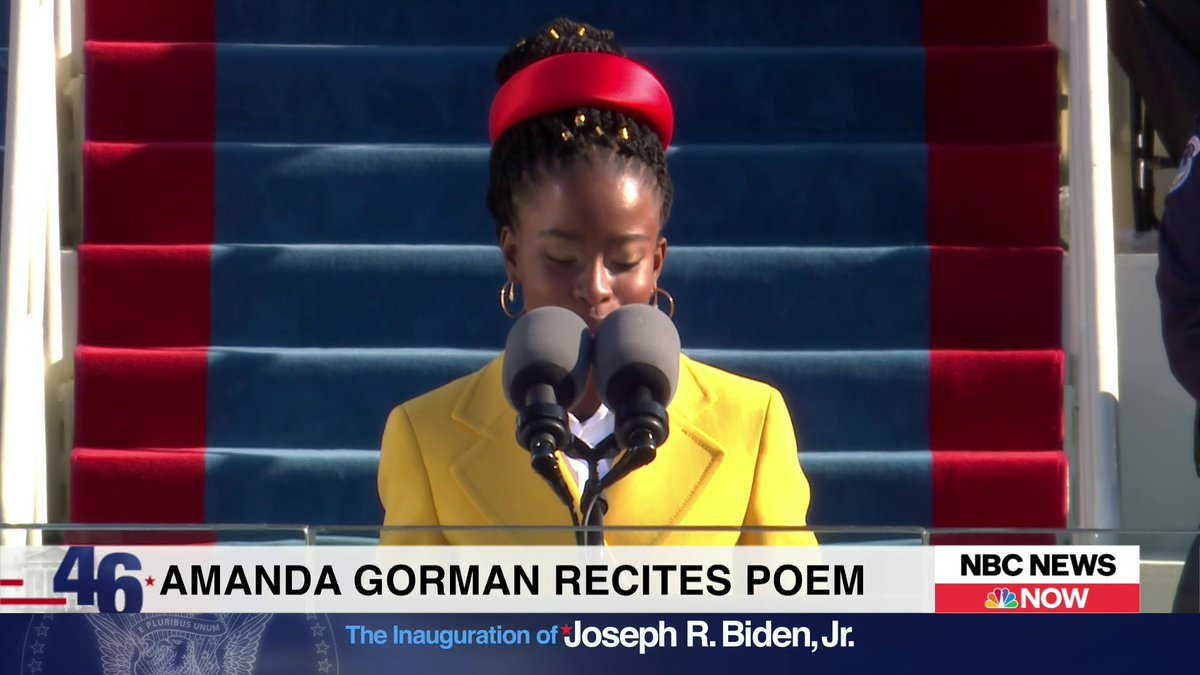 """FULL AMANDA GORMAN POEM:   """"We will raise this wounded world into a wondrous one ... There is always light, if only we're brave enough to see it. If only we're brave enough to be it.""""  The 22-year-old is the youngest inaugural poet in U.S. history:"""
