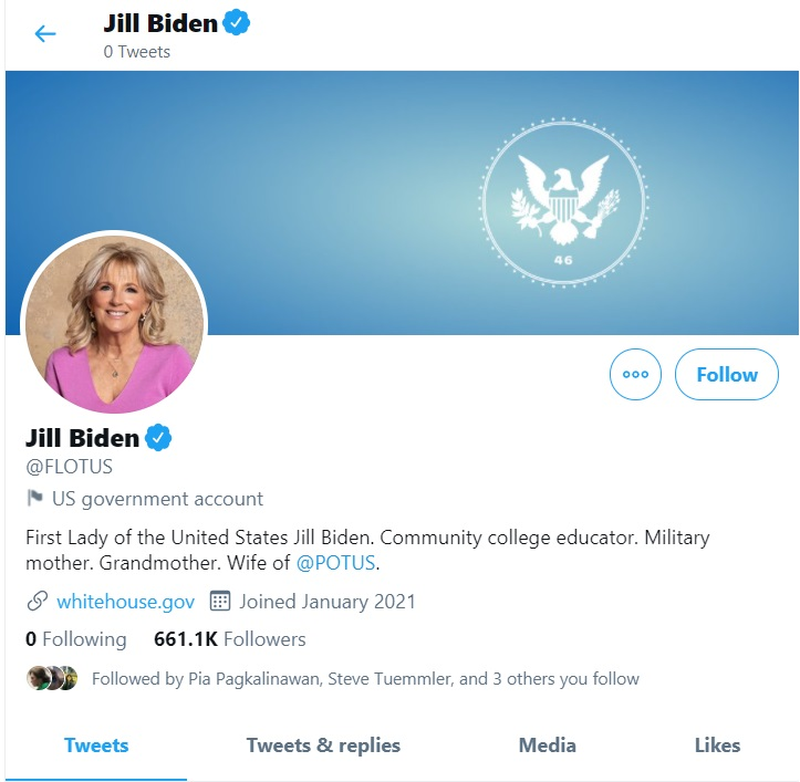 LOOK: White House Twitter accounts have been transitioned from the Trump administration to the Biden administration, according to Twitter spokesperson Nick Pacilio.
