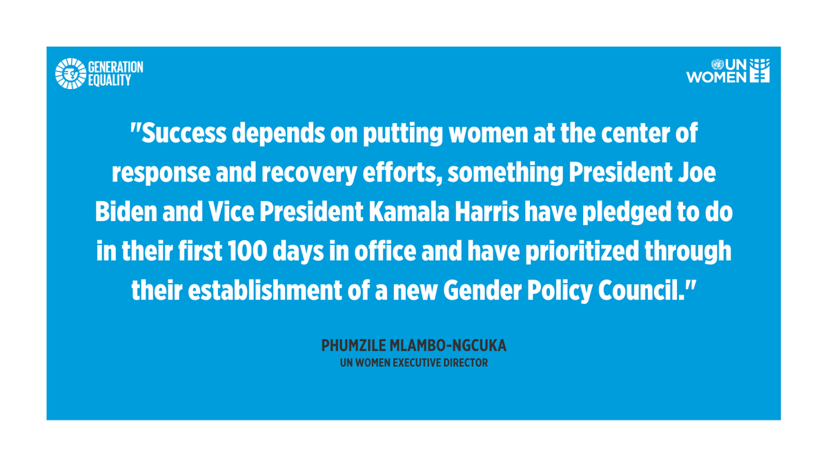 .@UN_Women congratulates U.S. President @JoeBiden & Vice President @KamalaHarris. With their Gender Policy Council, the new administration has an unprecedented opportunity to help set & implement a women's rights agenda for the next era. #GenerationEquality #Inauguration2021