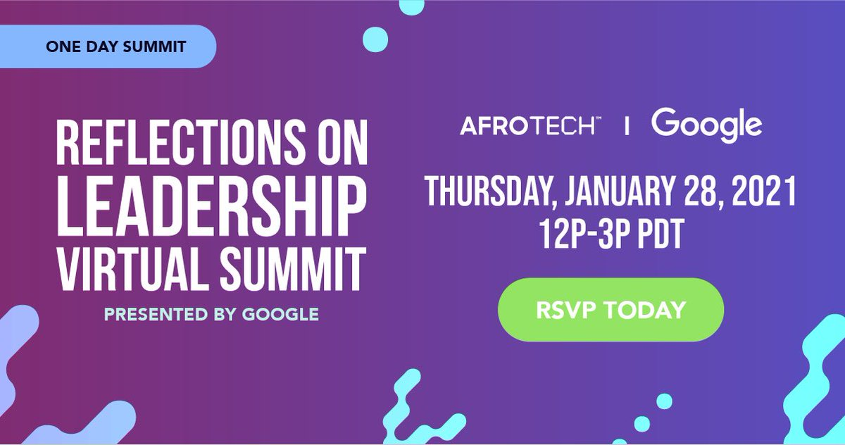 Spend an afternoon with @lifeatgoogle x #AfroTech! On Jan. 28, meet us for the Reflections on Leadership Summit, featuring empowering sessions on authenticity, corporate responsibility, and commitment to racial equality 💪🏾. Sign up now: