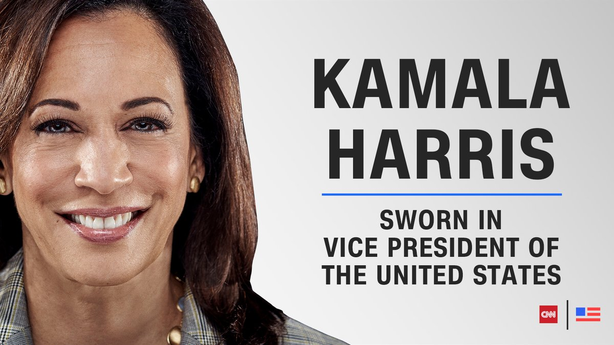 Kamala Harris is sworn in as vice president of the United States. She is the first woman and the first person of Black and South Asian descent to hold the office.