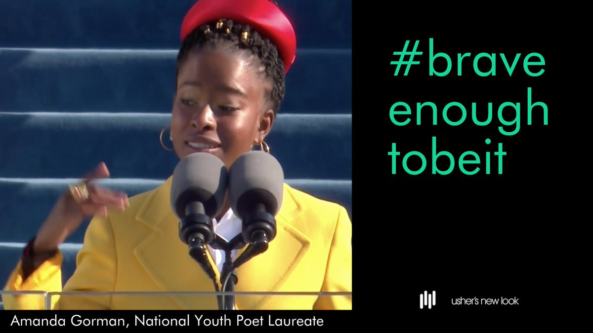 On this historic day, we salute Amanda Gorman, the nation's first National Youth Poet Laureate, and all of our amazing youth who courageously share their voices and passionately work to transform the world. #ushersnewlook #youthvoices #youthempowerment  @amandascgorman