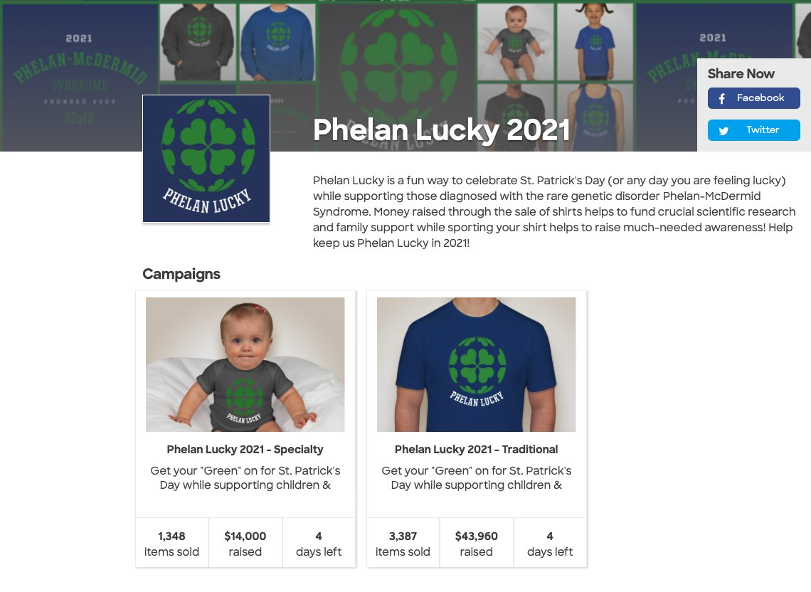 Do you need some LUCKY in your life?  Buy a cool shirt, support a good cause, and spread some awareness.  Only 4 shopping days left to support the annual #PhelanLucky fundraiser to raise awareness for @Phelan_McDermid Syndrome!