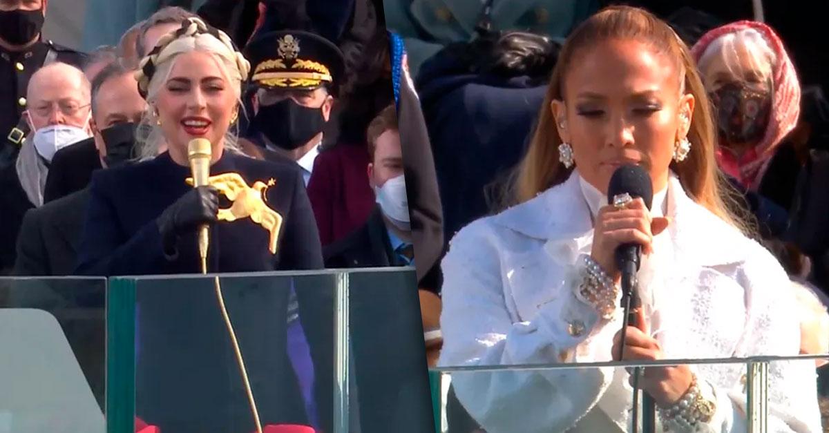 Deusas supremas! 😍😍😍 Lady Gaga e Jennifer Lopez se apresentam na posse de Joe Biden e Kamala Harris nos EUA ➡️  #GshowFamosos