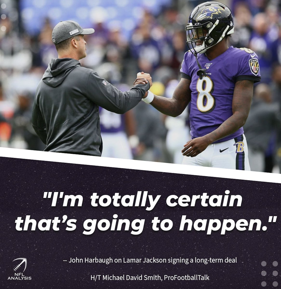 """Harbaugh: """"Absolutely, we want Lamar to sign a long-term deal and be with us.""""  #Ravens #RavensFlock"""