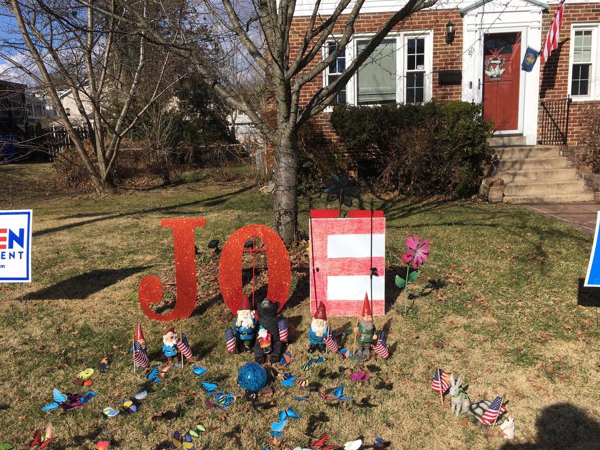 "@colbertlateshow #inaugurationAtHome We're repurposing our Christmas decoration ""JOY"" to celebrate the #InaugurationDay"