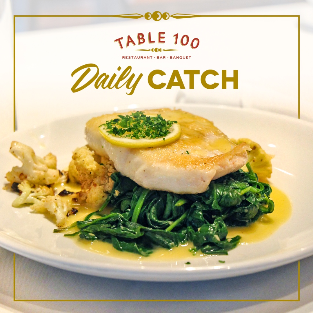 Back by popular demand… The Daily Catch!  A bed of sautéed spinach and roasted cauliflower topped with a daily rotation of different (but equally delicious) types of fish in a lemon butter sauce.  #table100 #flowoodms #dinelocal #seafood
