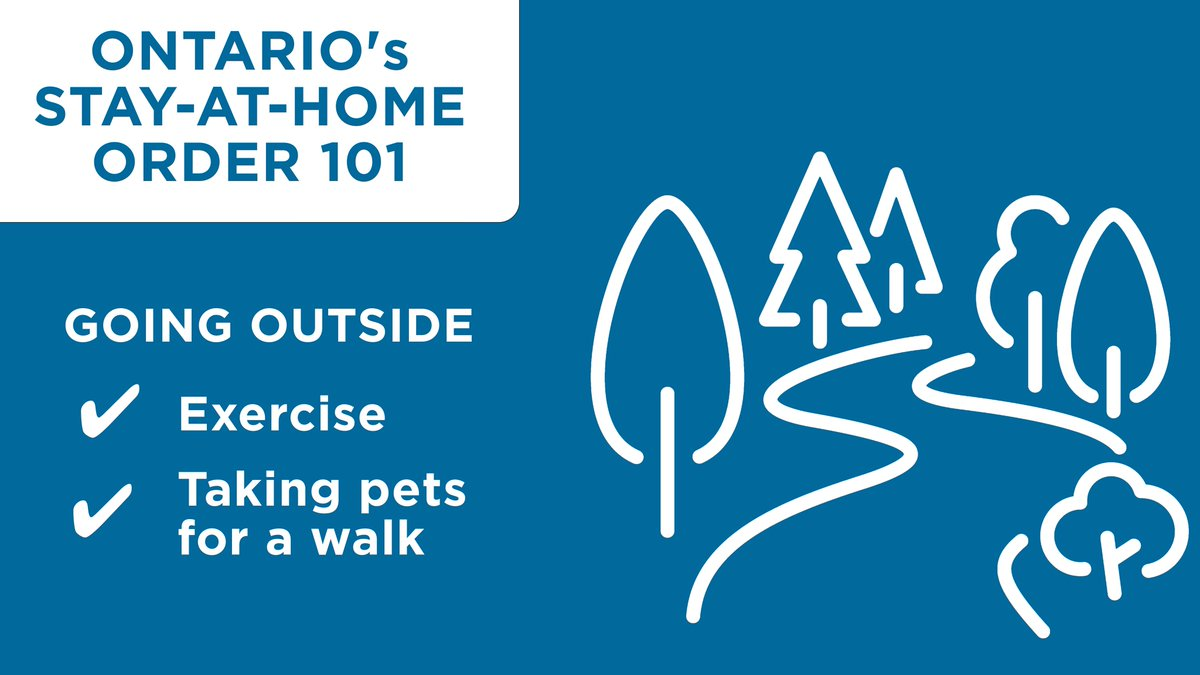 During Ontario's Stay-at-Home Order, only leave for these essential reasons: food, health care/medication needs, exercise, walking pets, or work, where someone's job cannot be done at home.  Anyone going outside is expected to adhere to physical distancing measures. https://t.co/PBOfVVxZTJ