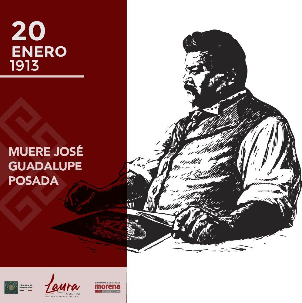 #UnDíaComoHoy de 1913 muere José Guadalupe Posada célebre por sus dibujos de escenas costumbristas, folclóricas, de crítica socio-política y por sus ilustraciones de calacas o calaveras, entre ellas La Catrina.