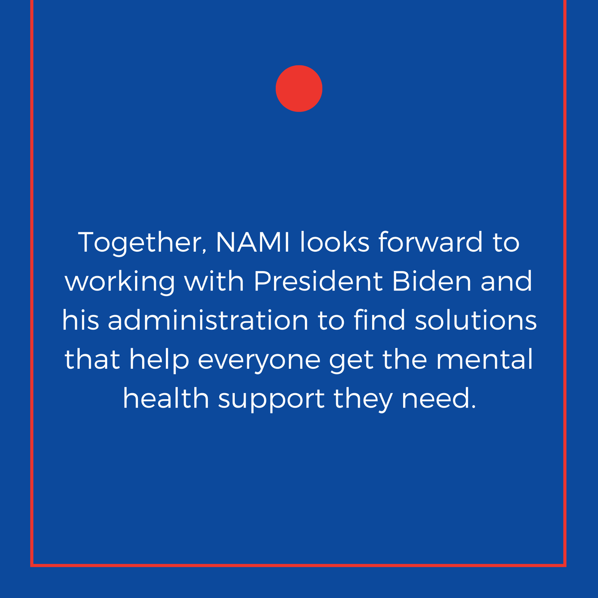 Congratulations President @JoeBiden and Vice President @KamalaHarris on your inauguration today. We look forward to working with the new administration to build better lives for the millions of people in our country who are affected by mental illness. bit.ly/393nBuF