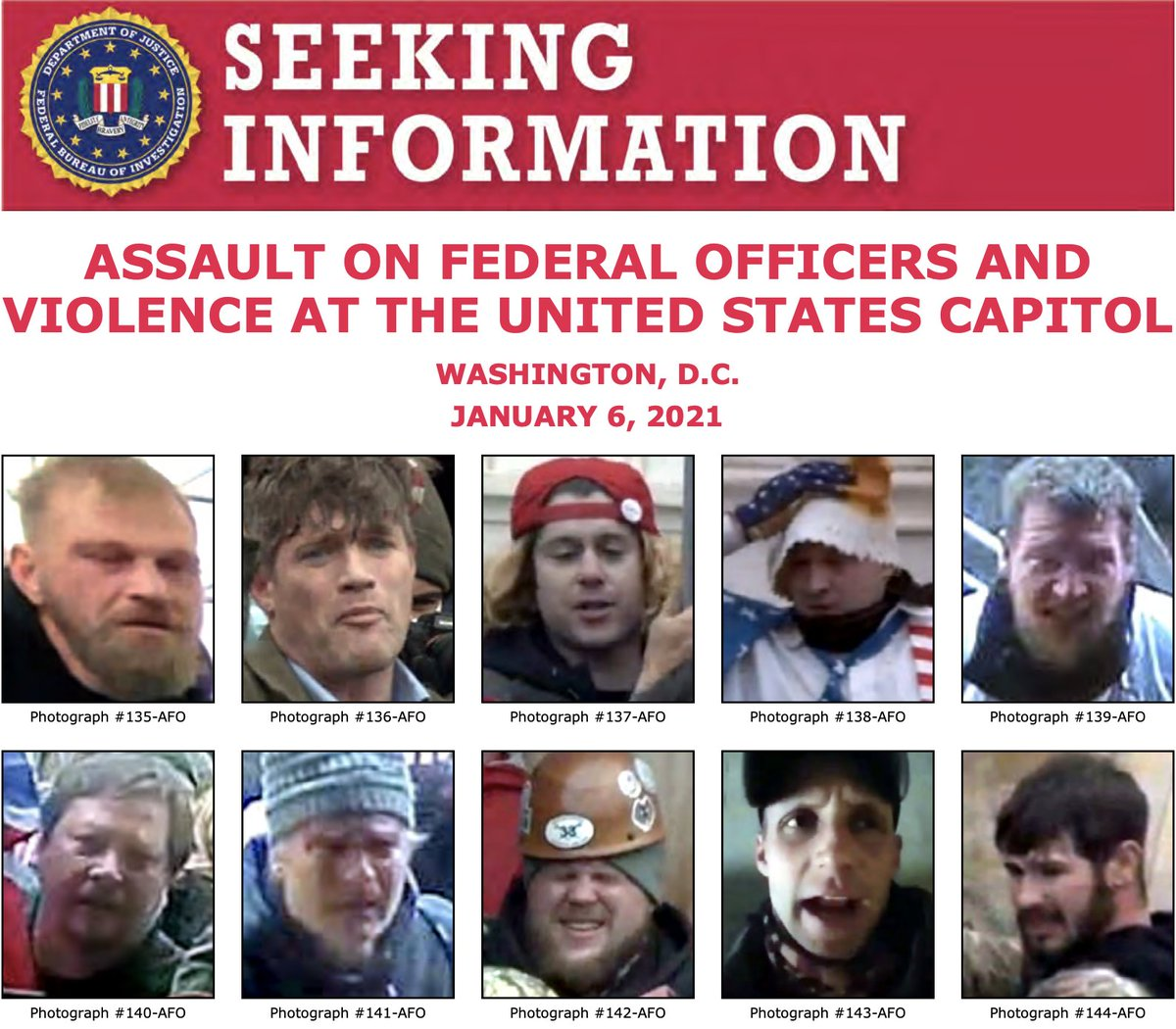The #FBI has updated our website with more photos of individuals who unlawfully entered the U.S. Capitol on January 6 and assaulted federal law enforcement officers. Submit tips to help us identify them at . @FBIWFO