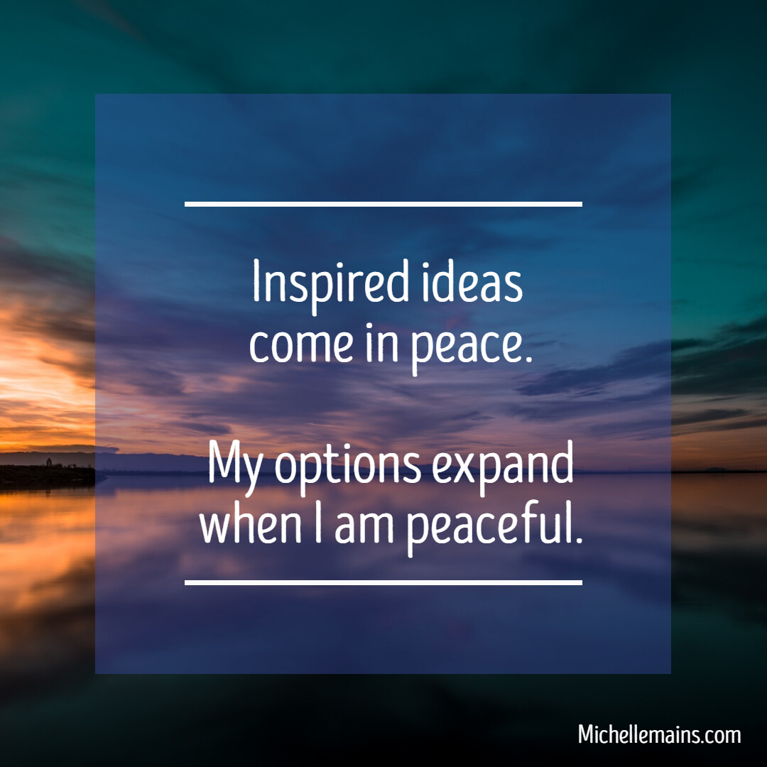 """""""Creative tension"""" is mostly tension! Your best ideas happen when you're peaceful and in the flow.  #goals #WednesdayWisdom #affirmations #personaldevelopment  #coaching #PositiveVibes #affirmations"""