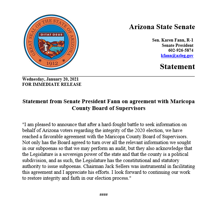 FOR IMMEDIATE RELEASE: Statement from Senate President @FannKfann on agreement with Maricopa County Board of Supervisors  #AZSenate #ElectionIntegrity