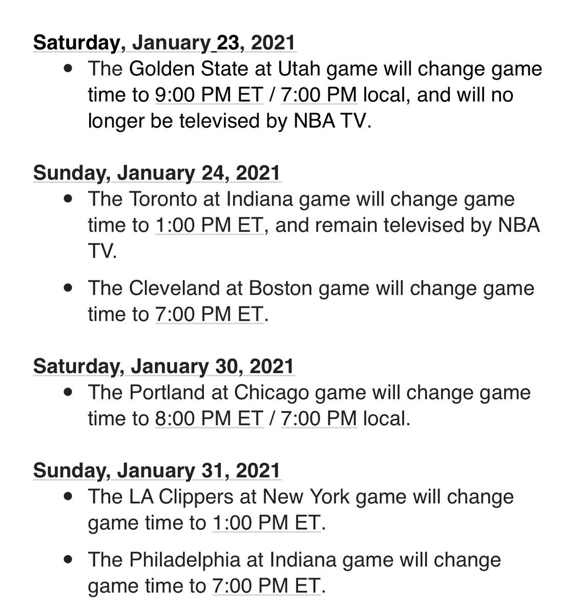Several changes to the NBA schedule: https://t.co/MVCl44hyUz