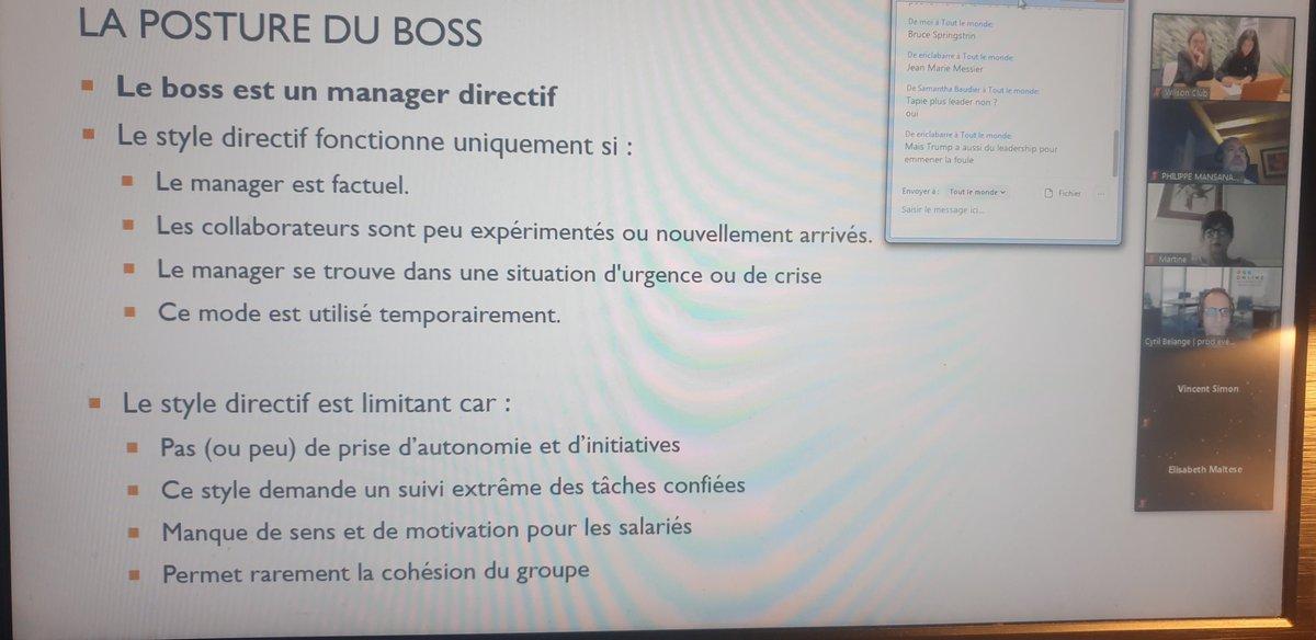 """Bravo à @WilsonAndCoNice @DezbFlora pr organisation hier visio avec Caroline Adam """"Boss ou leader ?"""". Et vous vs êtes comment ? #coaching #Nice06 #Management"""