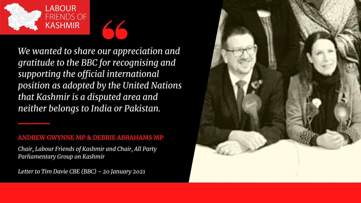 Today, our Chair @GwynneMP and Chair of the APPG on Kashmir, Labour MP @Debbie_abrahams, jointly wrote to the BBC to support its policy of showing Kashmir on maps as a 'disputed area' in accordance with UN resolutions.