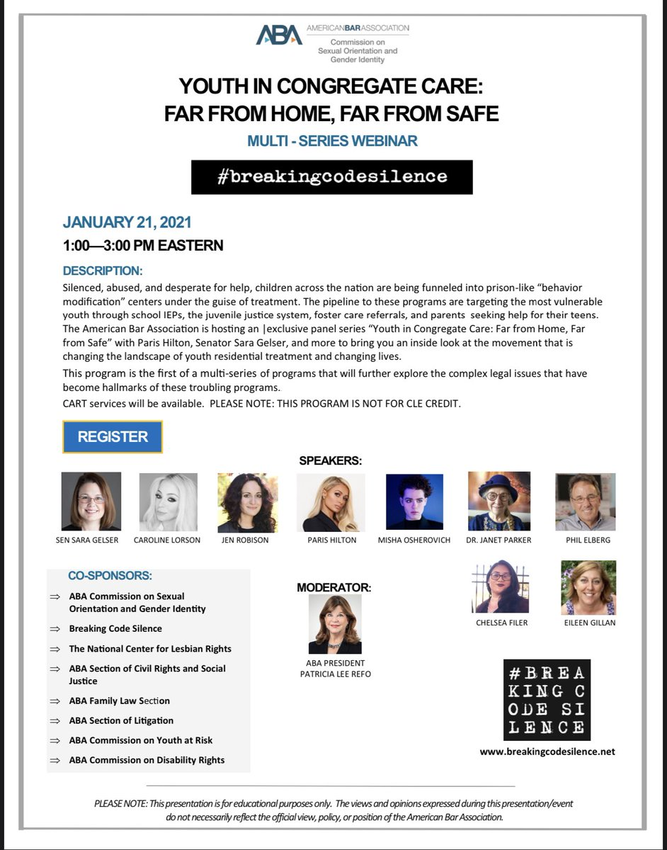 "So proud to be speaking tomorrow at the @ABAEsq & @BreakingCodeSi1 Webinar from 1pm - 3pm EST. Click link in bio to join our Panel Series ""Youth in Congregate Care: Far from Safe"" with @SenSaraGelser, Jen Robison & @CarolineLorson, @MishaOsherovich & more."