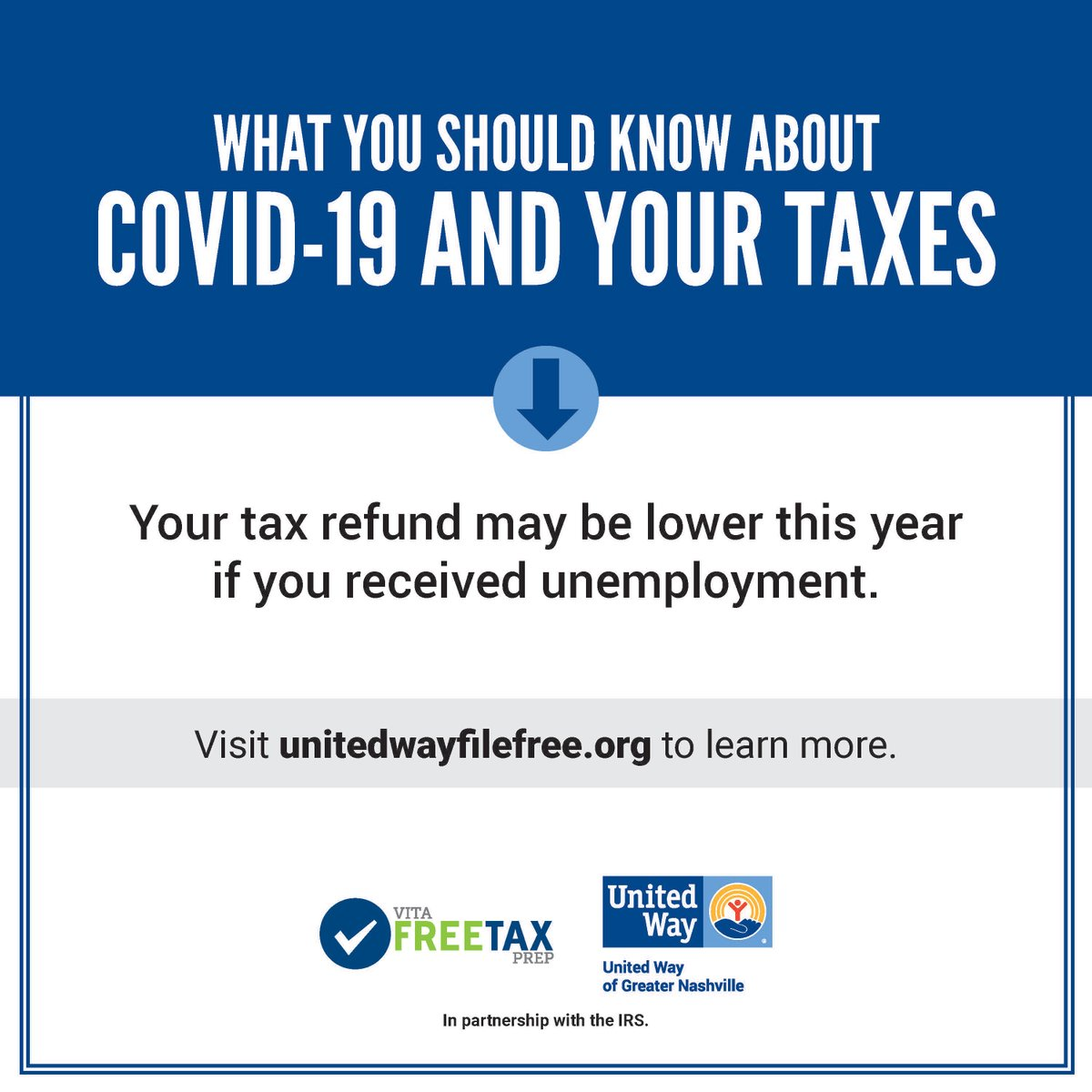 #DidYouKnow: If you received unemployment benefits in 2020 your tax refund may lower this year. Prepare yourself this tax season. Visit  or call 615-748-3620 for free financial counseling, or visit  for free tax prep.