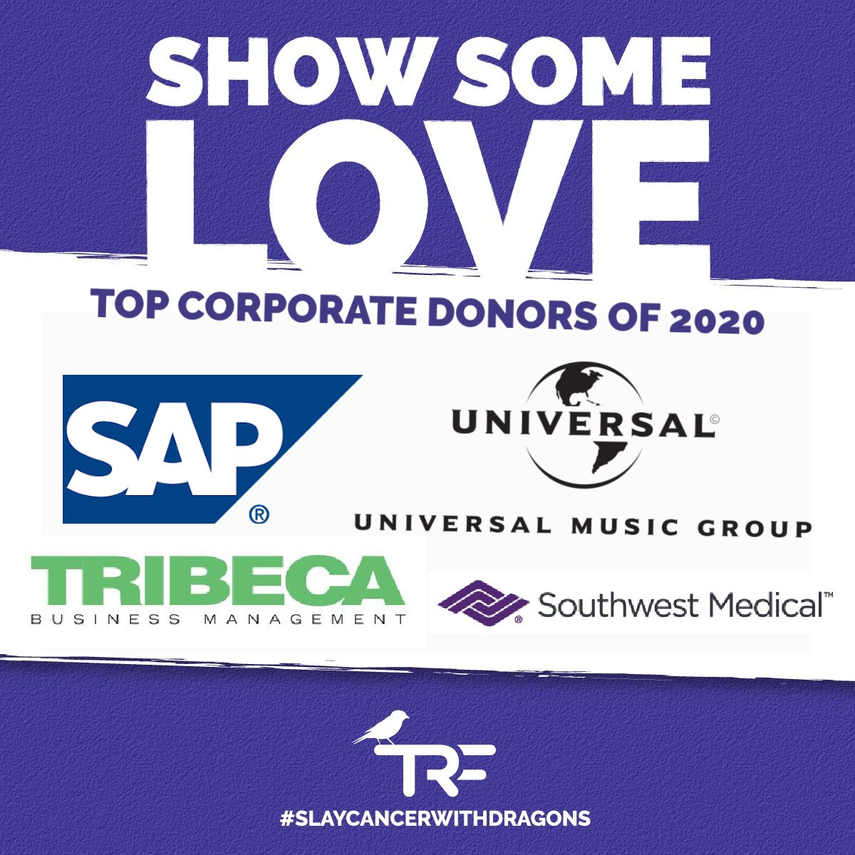 💜 We are so thankful for our friends at @SAP, @UniversalMG, Tribeca Business Management, and @sma_lv. These top corporate donors of 2020 were absolutely integral to us and our pediatric cancer families.