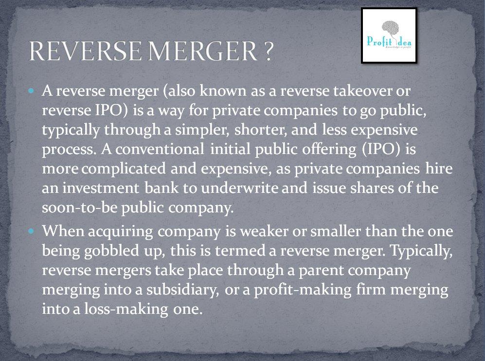 #DidYouKnow #reversemerger #profitidea