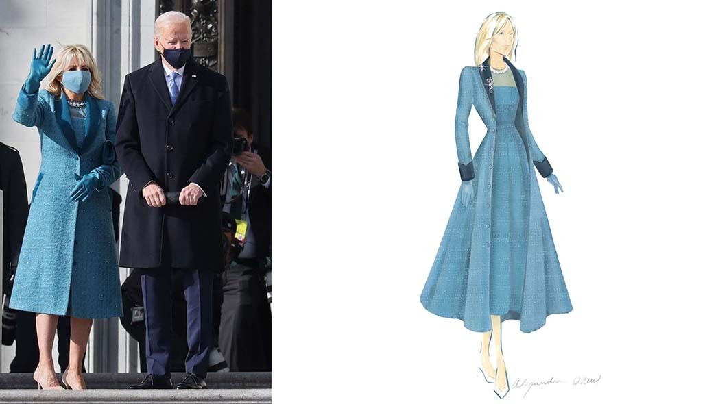 First Lady Dr. Jill Biden chose to work with Alexandra O'Neill of New York-based label Markarian on a custom dress and coat in ocean blue with peacock-hued details and embellished with Swarovski pearls and crystals
