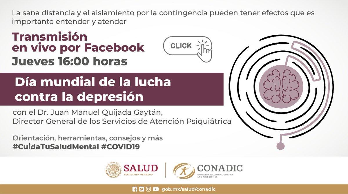 La depresión no es simple tristeza. Impacta a personas de todas las edades, de manera muy significativa a adolescentes y a adultos mayores Ve❗FB Live  Día Mundial de la lucha contra la Depresión Con @psiquijada   📆  21/01/21 ⏰  04:00 pm 📱  @CONADICmx  #CuidaTuSaludMental https://t.co/3PIvjWyNOe