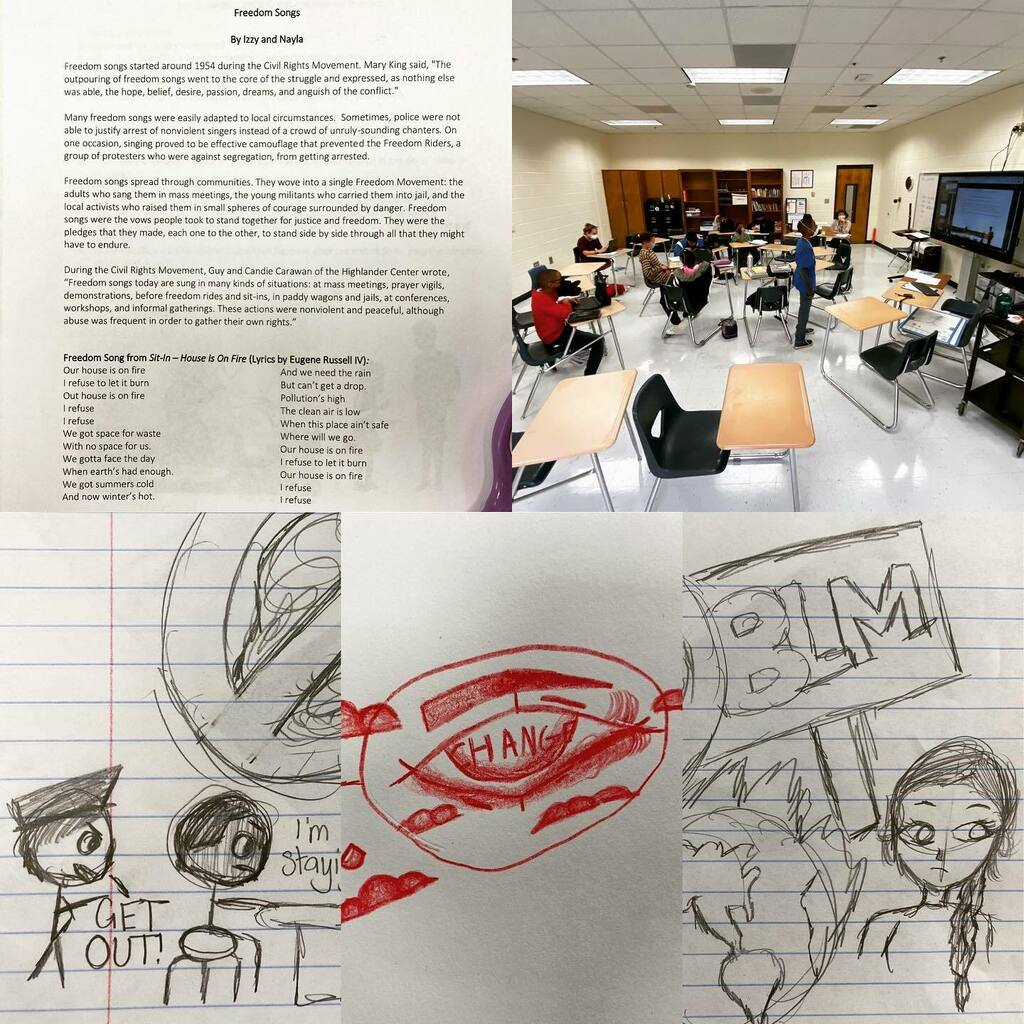 "Ss in #literacy gather their defense in thought and action surrounding the @alliancetheatre premiere of Sit-In which is an animated short surrounding activism and responsibility.  They were challenged to sketch their reaction. ""How did the sit-in movemen…"