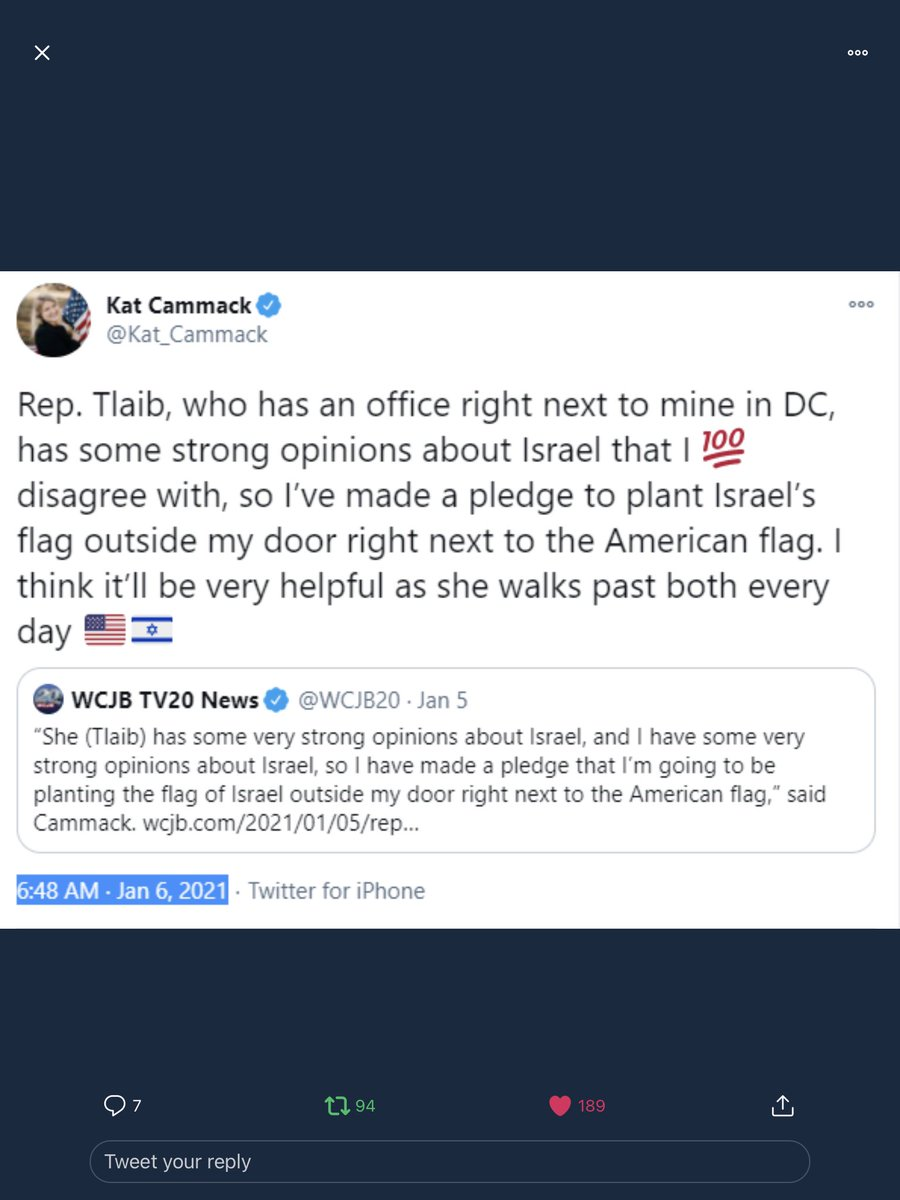 @RashidaTlaib @MalcolmNance Why did @Kat_Cammack first thing Jan 6 send clear instructions on how to find @RepRashida office? She notifies them she is placing a distinguishable marker (flag) next to Tlaib's office, making it easy to find! #InvestigateCammack #insurrection #ExpelTheSeditionists #CapitolRiot