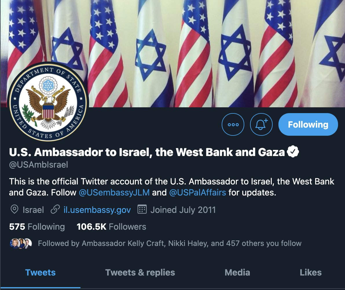 """BREAKING: Biden Admin Changes U.S. Ambassador to Israel into """"U.S. Ambassador to Israel, the West Bank, and Gaza"""" -- Day 1 policy shift signals new admin does not consider any parts of these areas as Israeli territory"""
