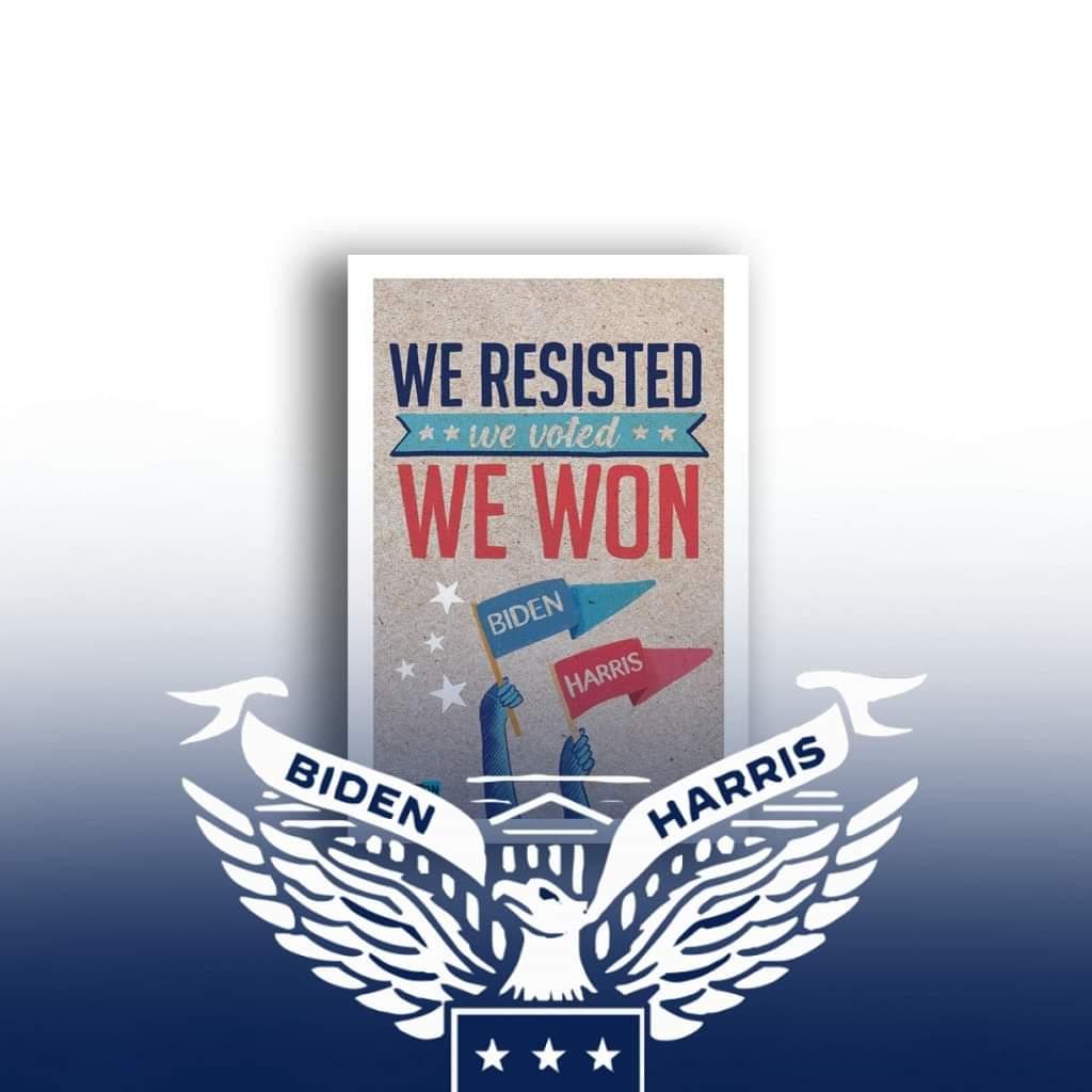 Thank God, the nightmare is over. We resisted, we voted, we won. #WeResisted #WeThePeople #wediditJoe #POTUS46