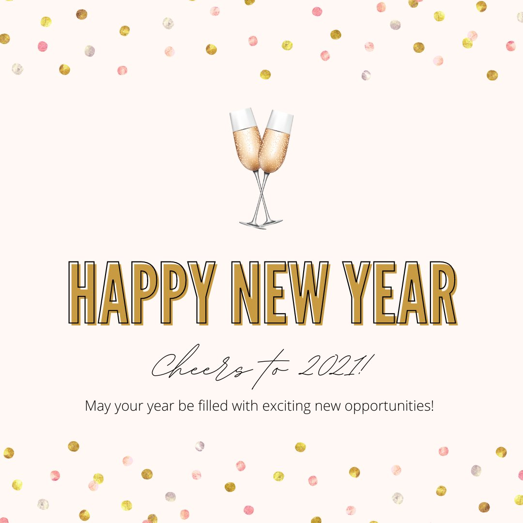 We hope your new year is off to a great start! Cheers to 2021 - may it be filled with exciting new opportunities! #newyear #cheers #2021