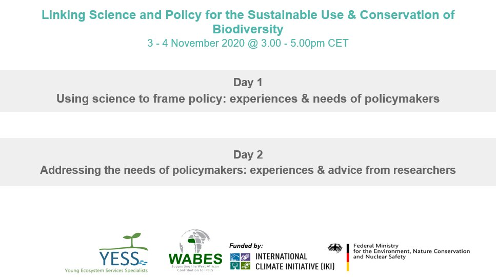 The video recording of our 2-day #webinar organised with @WABES_ is online! Learn about the #science #policy interface for #biodiversity #conservation and #sustainable use from our fantastic panellists 🤩🌱🐝  ➡️Click here for the #YouTube playlist: