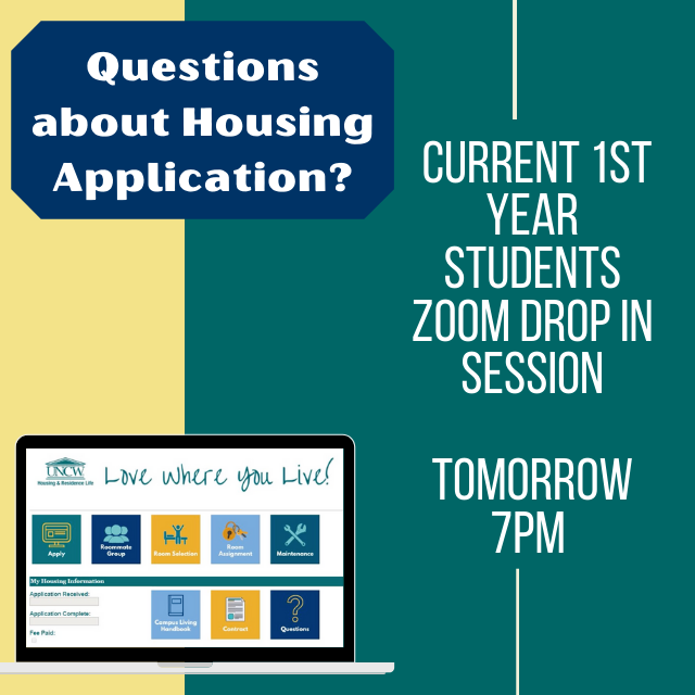 Current 1st year students, join us for a detailed presentation on how the housing application process looks at 7pm tomorrow night. There will also be time to answer any questions you may have. Check the link in our bio for more info. #uncwhrl #lovewhereyoulive