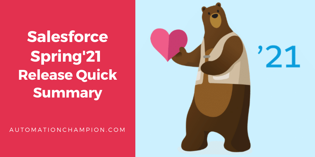 @salesforce #Spring21 release article, then Check out Salesforce Spring'21 Release Quick Summary written by me.   #Spring21 #ReleaseSummary #salesforcedevs #salesforceadmin #salesforceohana #sfdc #awesomeadmins #trailblazercommunity @salesforcedocs