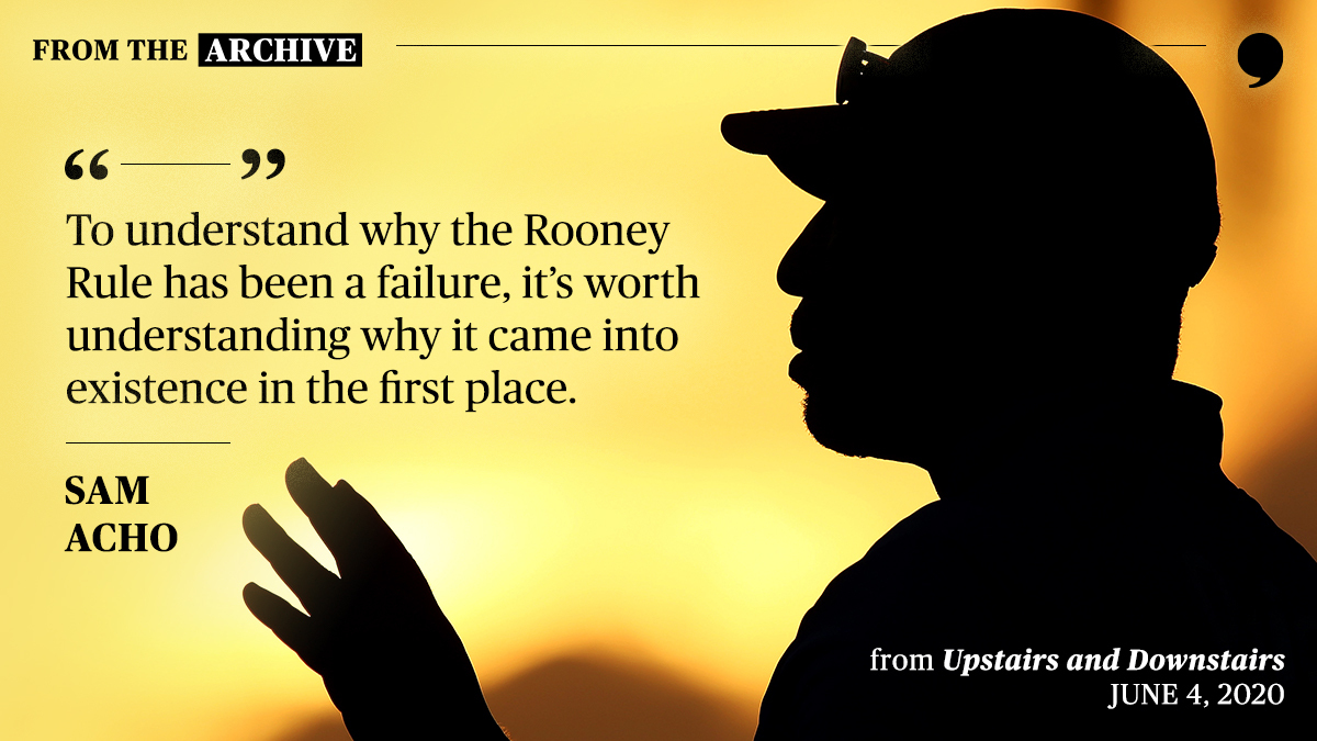 """If you're a football fan, you probably heard of the Rooney Rule. In June 2020, @TheSamAcho wrote about the NFL's issues with minority hiring and the divide between """"upstairs"""" and """"downstairs"""":  #TPTArchive"""