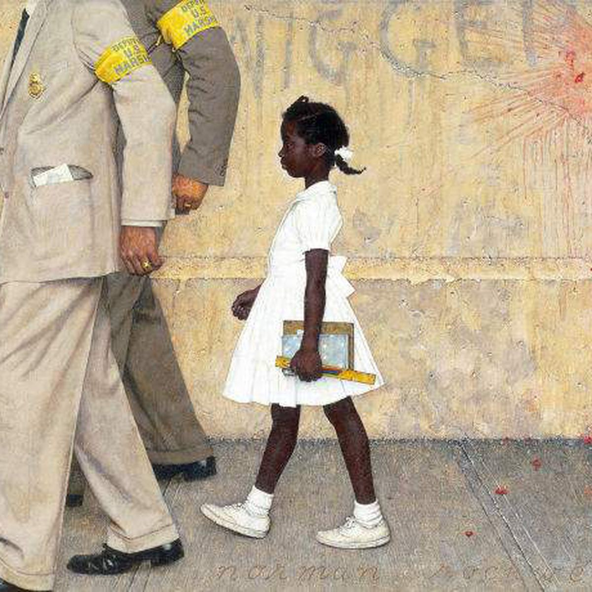Ruby Bridges, age 6, being escorted into school by U.S. marshals, when she became the first Black student to integrate an elementary school in the South, by Norman Rockwell.   Madam Vice-President Kamala Harris & the silhouette of Ruby Bridges. By Bria Goeller