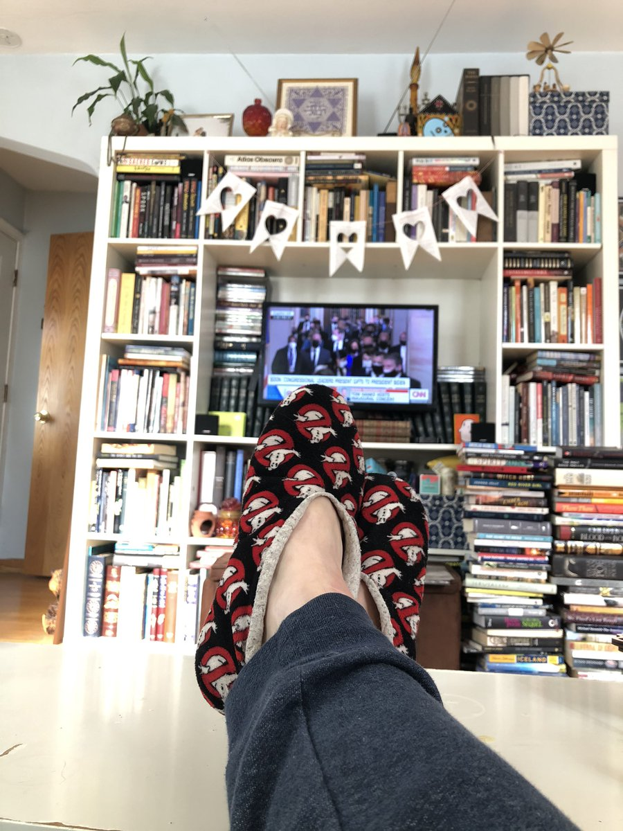 Let me tell you about the jogger and Ghostbusters slipper ensemble I'm wearing today... #InaugurationAtHome