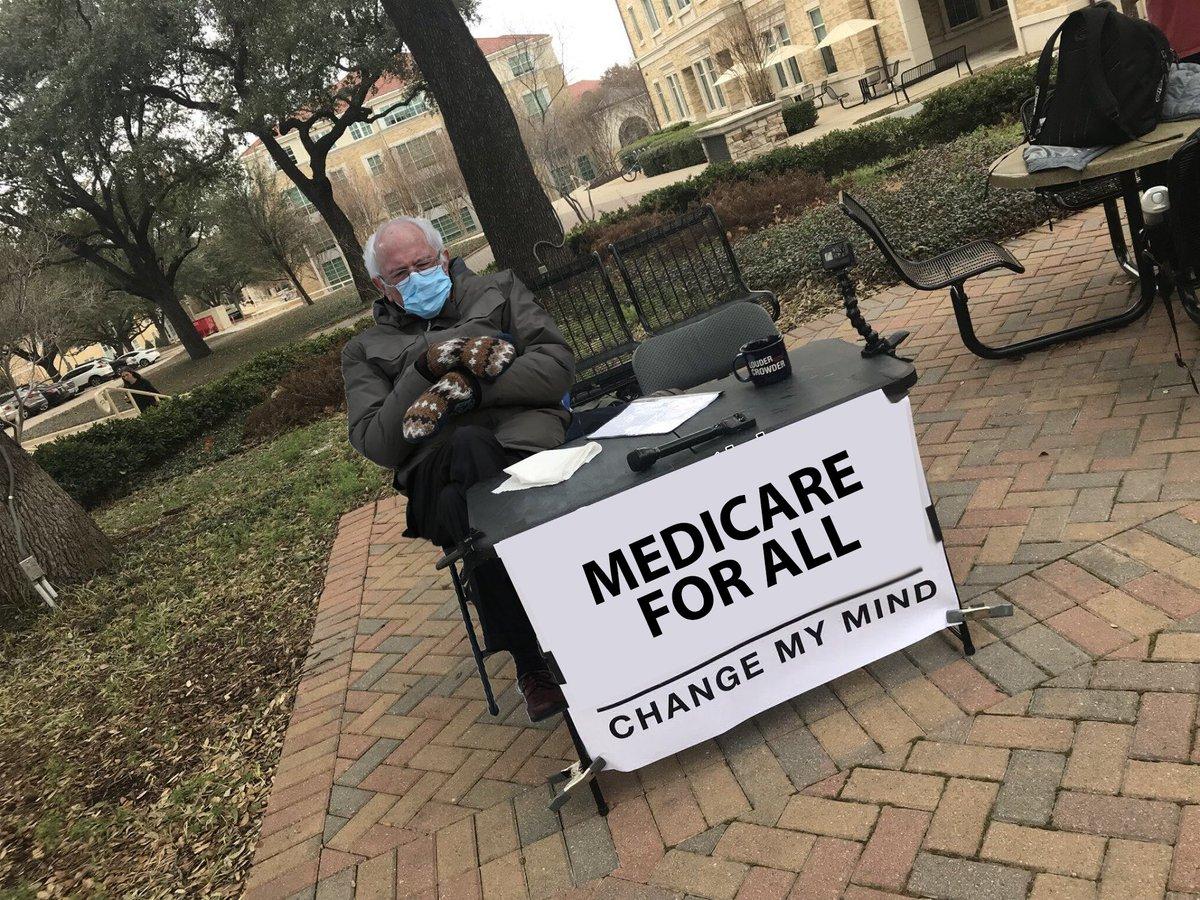 Replying to @djjkim: I made this Bernie sitting meme to contribute to the cause